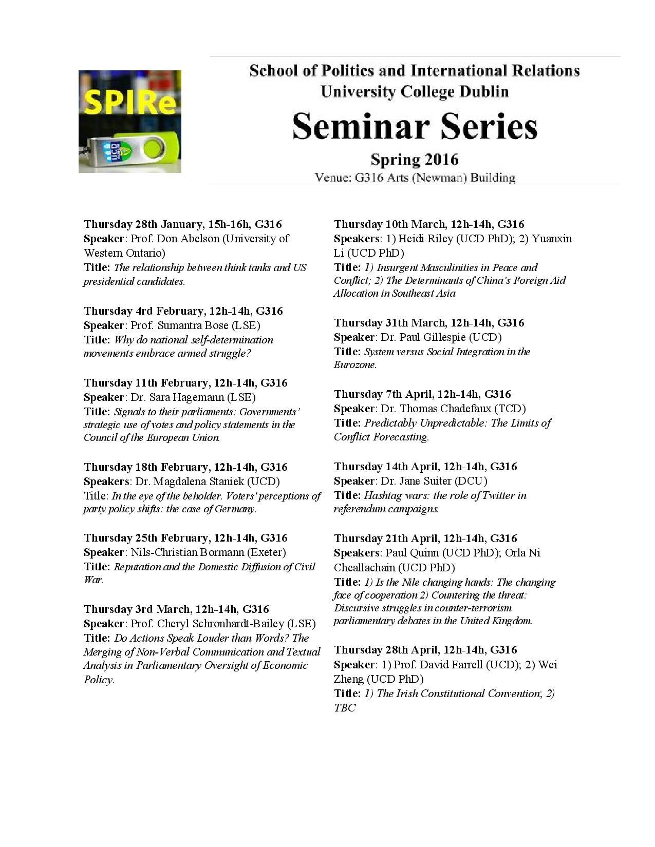 UCD Seminars Spring 2016